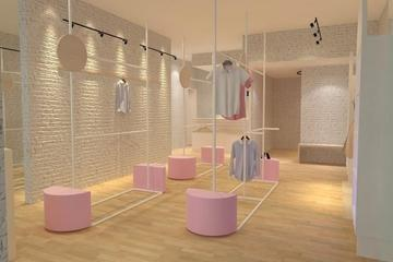 Version 1 - Women Area  - Industrialist with soft or pastel coloured ending to make it more clear and people focused on the product they displayed with a femine touch