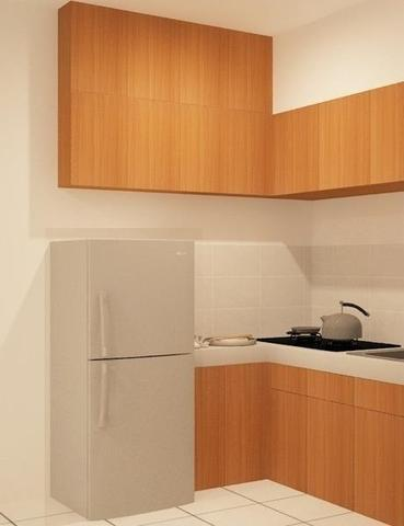 Kithcen Set Apartemen Mediterania - Minimalist with slight wood concept to blend with white  Wall and make it more spacey and calming