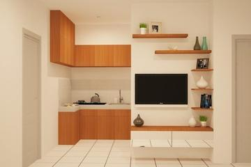 Kithcen Set and TV Panel Apartemen Mediterania - Minimalist with slight wood concept to blend with white  Wall and make it more spacey and calming