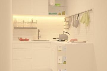Kitchen Set with full white with white Lamps- going all white monochrome to make the kithcen looks more clean than ever