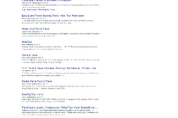 "keyword ""travel agent jakarta"" berada di halaman 1 google"