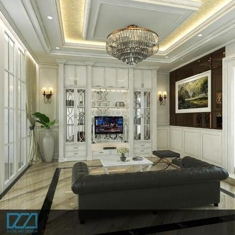 ruang tamu dengan design klasik