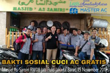 Master AC Kota Bambu Utara melakukan Baksos Cuci AC Gratis sebanyak 3 Unit AC Split di Masjid As-Samiri RW 08 Kelurahan Jati Pulo, Kecamatan Palmerah, Jakarta Barat