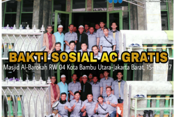 Master AC Kota Bambu Utara melakukan Baksos Cuci AC Gratis sebanyak 10 unit AC Split di Masjid Al-Barokah RW 04 Kelurahan Kota Bambu Utara, Kecamatan Palmerah, Jakarta Barat