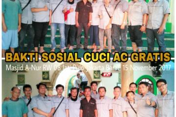 Master AC Kota Bambu Utara melakukan Baksos Cuci AC Gratis sebanyak 1 unit AC Split di Masjid An-Nuur RW 08 Kelurahan Jati Pulo, Kecamatan Palmerah, Jakarta Barat