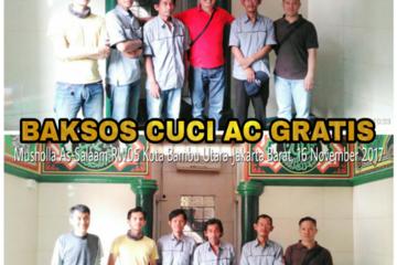 Master AC Kota Bambu Utara melakukan Baksos Cuci AC Gratis sebanyak 1 unit AC Split di Musholla As-Salaam RW 05 Kelurahan Kota Bambu Utara, Kecamatan Palmerah, Jakarta Barat