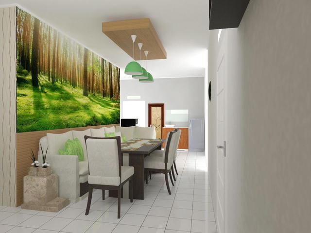 Ruang makan dengan konsep semi corner-cafe sehingga dibuat sofa sudut yang dapat memuat cukup banyak orang (sesuai jumlah anggota keluarga). Nuansa alam ditambahkan dengan ekspresi kayu di setengah dinding dan wallpaper panorama untuk menambah mood ruang makan.
