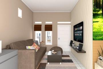 Ruang keluarga di sisi rumah memanfaatkan bekas ruang tamu yang terhubung dengan garasi dan ruang makan. Memanfaatkan konsep floating-rack agar tidak terlalu memakan ruang.