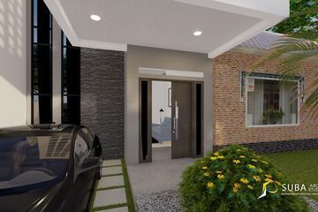Exterior - Halaman depan rumah untuk menyimpan kendaraan, resapan, dan akses jalan masuk pintu utama. Dengan konsep modern.