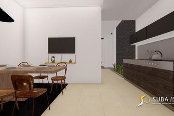 Interior - Ruang makan dan dapur . Ruangan untuk makan dan memasak, dengan konsep modern