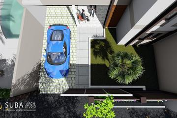 Eksterior tampak atas dengan  carport sebagai tempat persinggahan kendaraan saat aktif digunakan, taman depan untuk sumber oksigen,menghilangkan penat,menyerap polusi.pagar depan untuk akses keluar masuk.