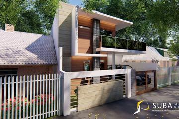 Exterior - Perspektif tampak depan rumah, dengan konsep minimalist, modern.