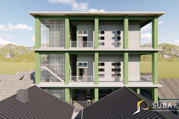 Eksterior - tampak samping kanan bangunan dengan konsep minimalist modern