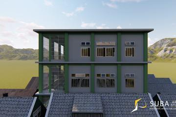 Eksterior - tampak samping kiri bangunan dengan konsep minimalist modern