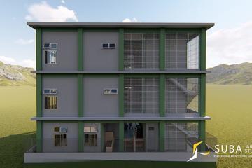 Eksterior - tampak belakang bangunan dengan konsep minimalist modern