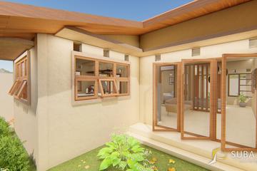 Eksterior - Tampak samping kiri bangunan dengan konsep minimalist