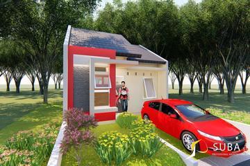 Exterior - Halaman depan rumah dan carpot. Untuk resapan dan menyimpan kendaraan, dengan konsep modern.
