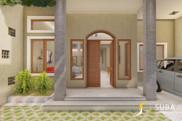 Eksterior-Tampak depan dengan carport untuk menyimpan mobil dan teras untuk ruang peralihan dari ruang luar menuju ruang dalam atau sebaliknya Dengan konsep minimalist