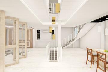 Interior - Area tangga sebagai akses penghubung antara lantai 1 dan lantai 2, dengan konsep kontemporer.