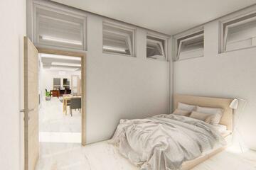 Interior - Kamar tidur untuk beristirahat, bersantai , tidur. dengan konsep kontemporer.