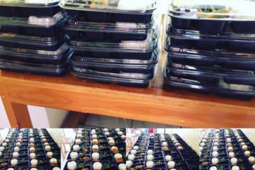 Nasi, ayam/ikan, sayur, smack (bakwan,tahu,tempe), buah./porsi Rp. 28.000