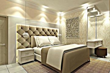 3d interior ruang tidur yellow amber palembang