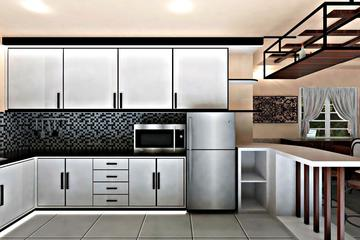3d interior kitchen set yellow amber palembang