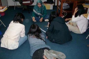 Teacher in group activities