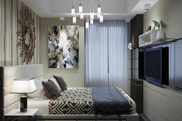 Design 3D untuk kamar utama Apartemen